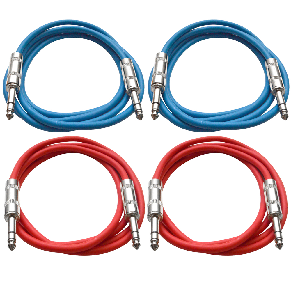 "Seismic Audio 4 Pack of 1/4"" TRS Patch Cables 6 Feet Extension Cords Jumper - Various Colors - SATRX-6-4Pack"