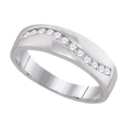 10k White Gold Round Diamond Channel-set Mens Masculine Lightweight Wedding Ring 1/4 Cttw
