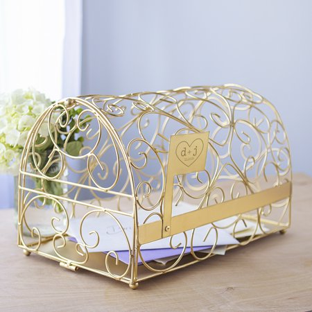 Personalized Gold Heart Reception Gift Card Holder Mailbox for $<!---->