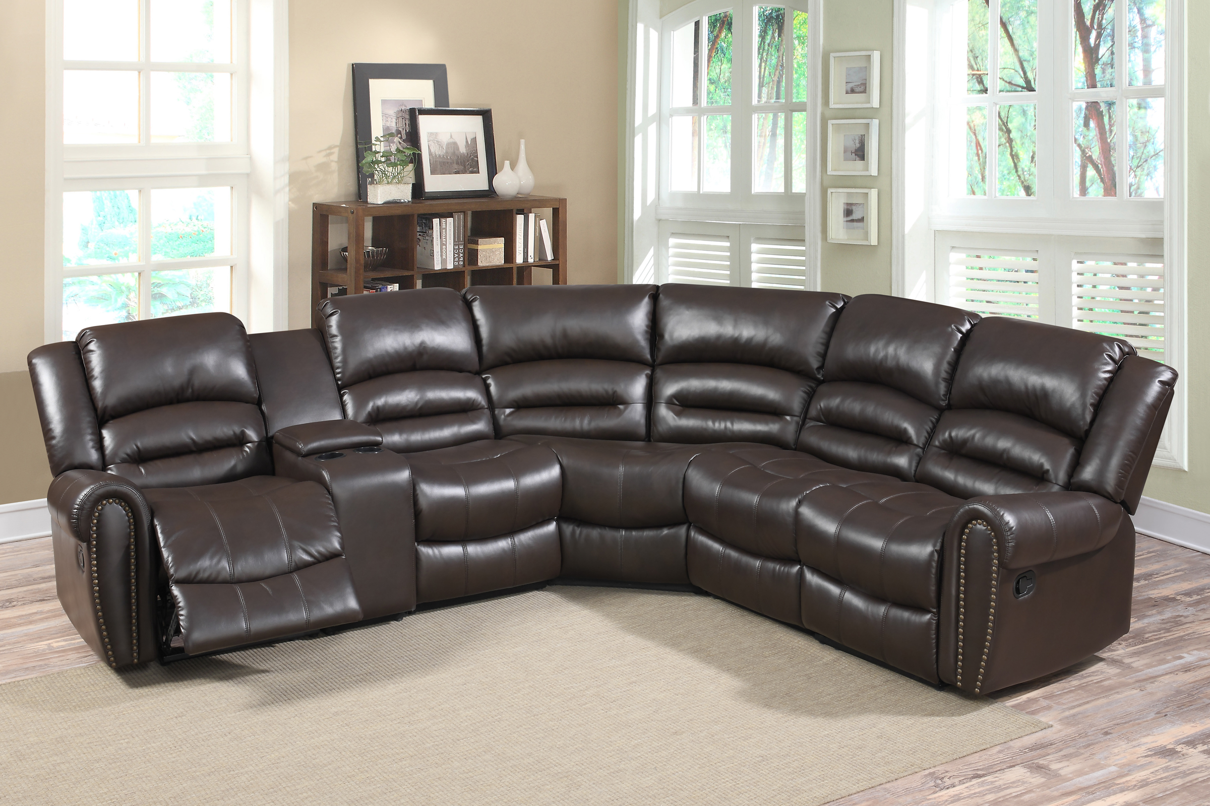 Grace 6 Pc Leather Reclining Sectional Sofa Set With Storage Console, Dark  Brown