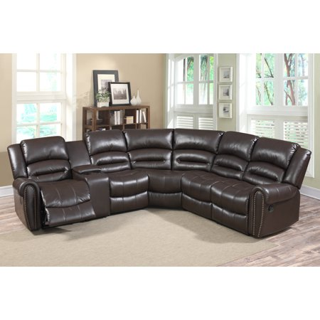 Grace 6 pc leather reclining sectional sofa set with for 6 pc sectional living room