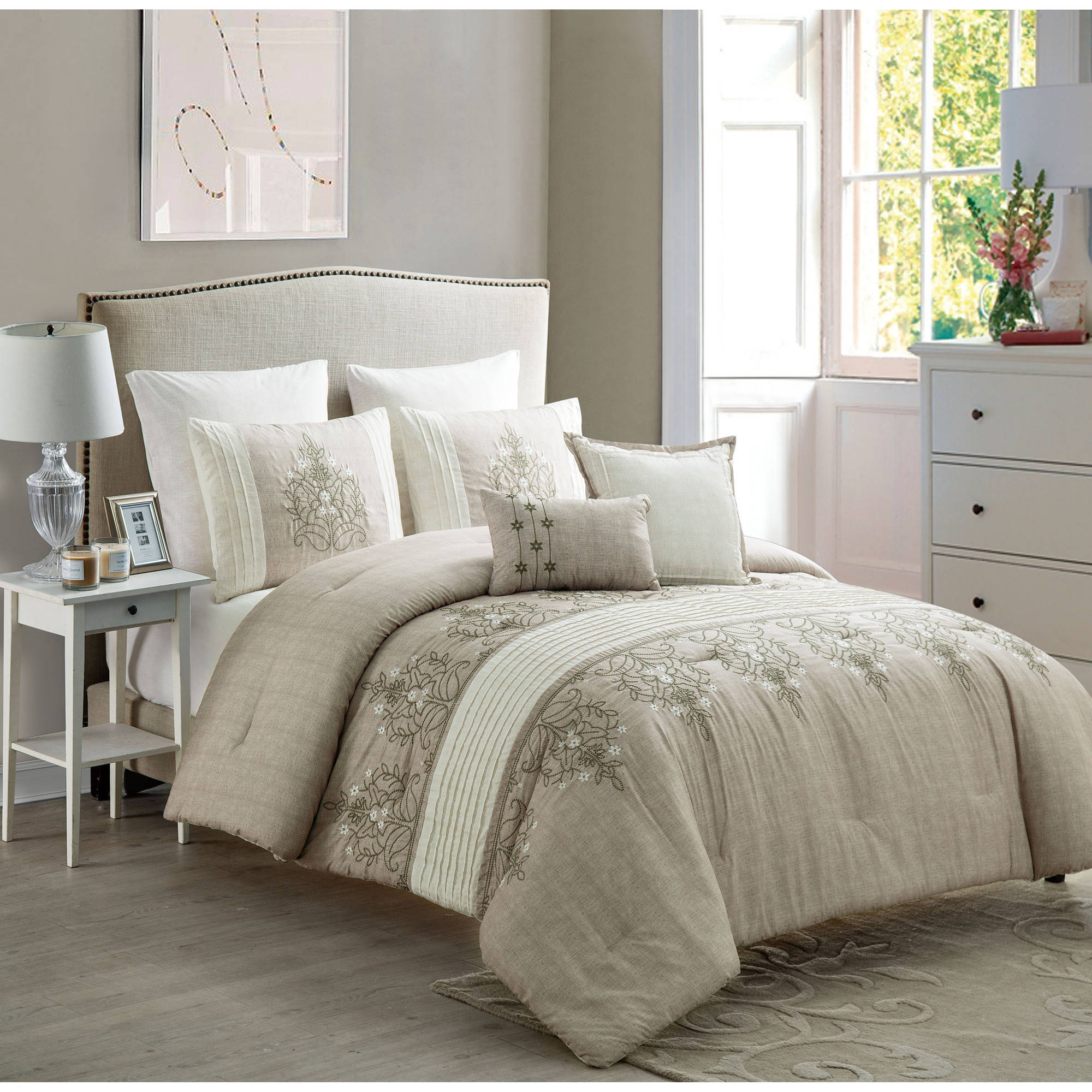 VCNY Grace 7-Piece Multi-Colored Floral Embroidered Bedding Comforter Set with Euro Shams, Multiple Colors Available