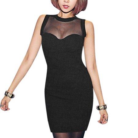 Women's Semi Sheer York Sleeveless Mesh Panel Bridesmaid Dresses (Size XS / 2) ShopFest Money Saver
