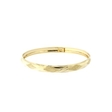 10k Yellow Gold 6mm Textured and Polished X Pattern Bangle Bracelet, 7
