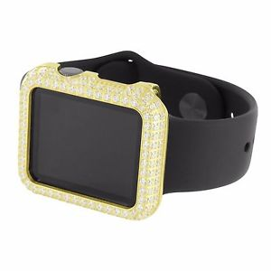 Mens Authentic Apple Watch Gold Simulated Diamond Bezel iOS Touch Display 42 MM