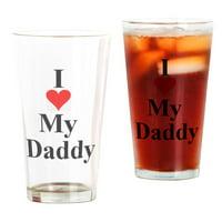 CafePress I Love My Daddy Pint Glass, Drinking Glass, 16 oz. CafePress