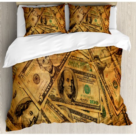 Money Queen Size Duvet Cover Set  Grunge Style Background With Fiver Sawbuck And Century Note Important Figures  Decorative 3 Piece Bedding Set With 2 Pillow Shams  Pale Green Brown  By Ambesonne