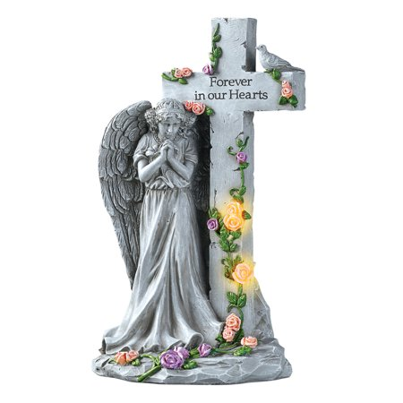 Angel with Light-Up Roses Stone-Like Memorial - Beautiful Display for Yard or Garden (Angel Yard)