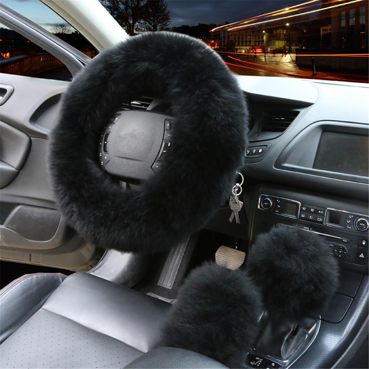 "3PCS Winter Warm Wool Car Steering Wheel + Gear Knob Shifter Parking Brake Cover Set Christmas Gift Car Decor Fashion Accessories 14.2"""