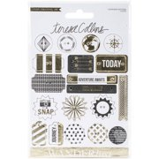 Wanderlust Decorative Buttons and Chipboard, 19 Pieces