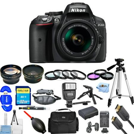 Nikon D5300 DSLR Camera with AF-P 18-55mm Lens (Black)!! PRO BUNDLE BRAND (Best Off Brand Lenses For Nikon)