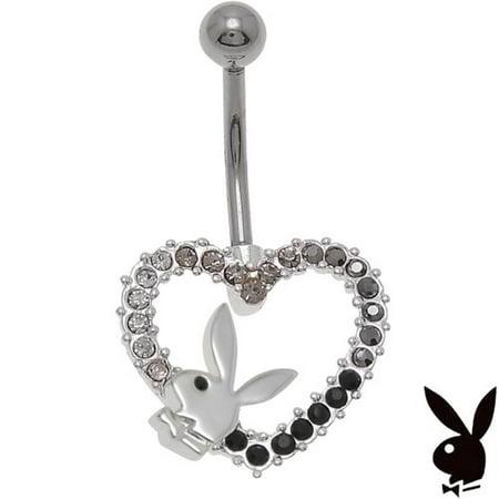 Playboy Bunny Hearts (Playboy Belly Ring Heart Bunny Logo Swarovski Crystal Curved Bar Barbell Button Navel Body Jewelry )