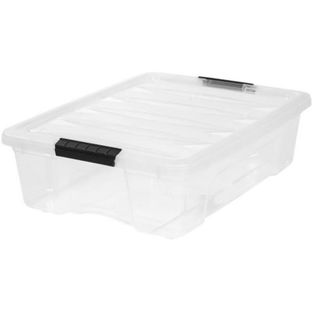 IRIS 26-Qt. Stack & Pull Plastic Storage Box, Clear, 6 Pack OR 1 Pack