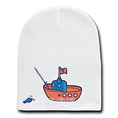 Fishing boat rod line white beanie skull cap hat for Fishing hats walmart