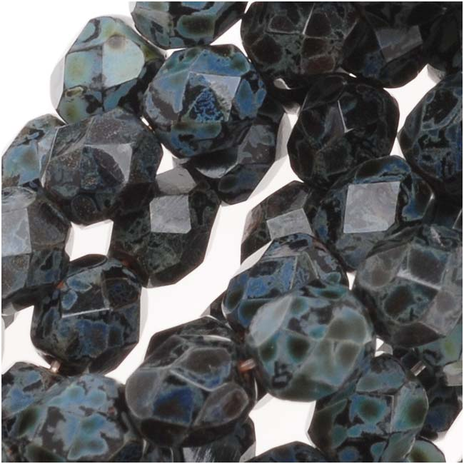 Czech Fire Polished Glass Beads 6mm Round Jet Picasso (25)
