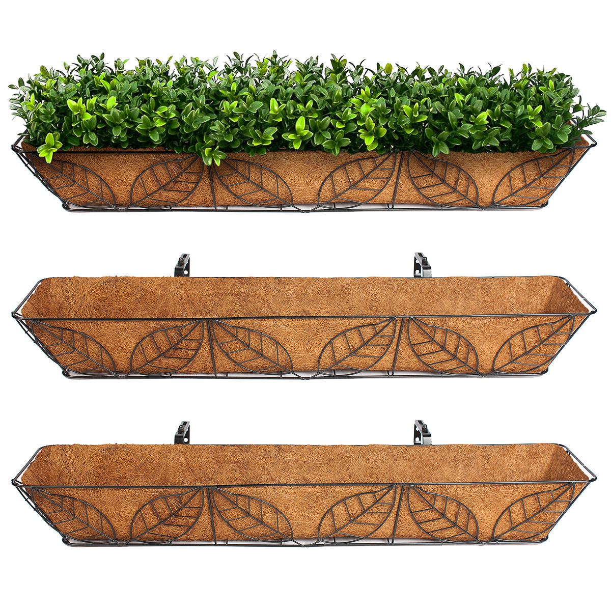 3pk Arcadia Coco Fiber Lined Wall Trough Wire Metal Leaf Basket Planter Plant Flower by