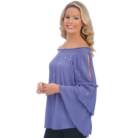 Rayon Woven Shirt - women's woven rayon crepe convertible neckline cutout bell sleeve top, medium, white