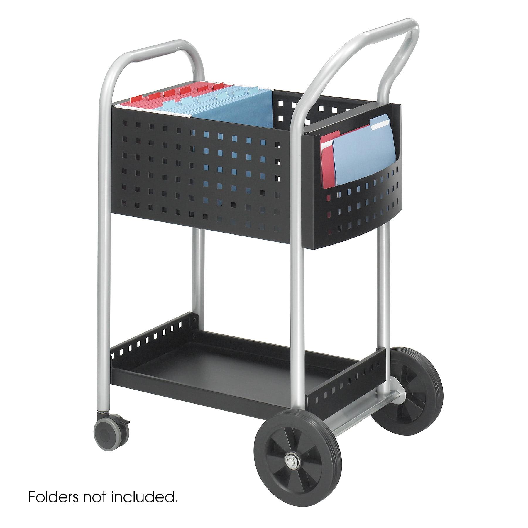 Lot of 4 Mobile steel handle & side pocket storage 20 Inch D Scoot Mail basket wheel Cart-5238BL
