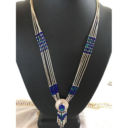 Liquid Silver Heishi 5 S Blue Green Sterling Necklace Concho Pendant