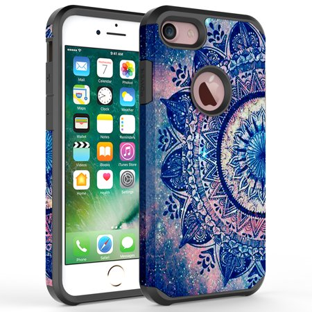 iPhone 7 Plus Case, iPhone 6 / 6S Plus Case, Kaesar Hybrid Dual Layer Shockproof Hard Cover Graphic Fashion Cute Colorful Silicone Skin Case for Apple iPhone 7 Plus - Mandala