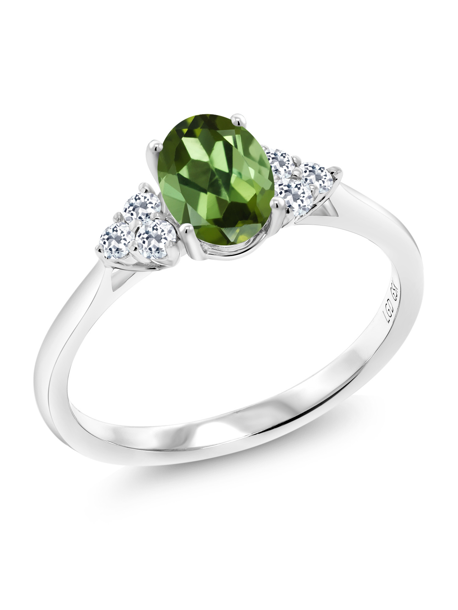 0.94 Ct Oval Green Tourmaline White Topaz 10K White Gold Ring by