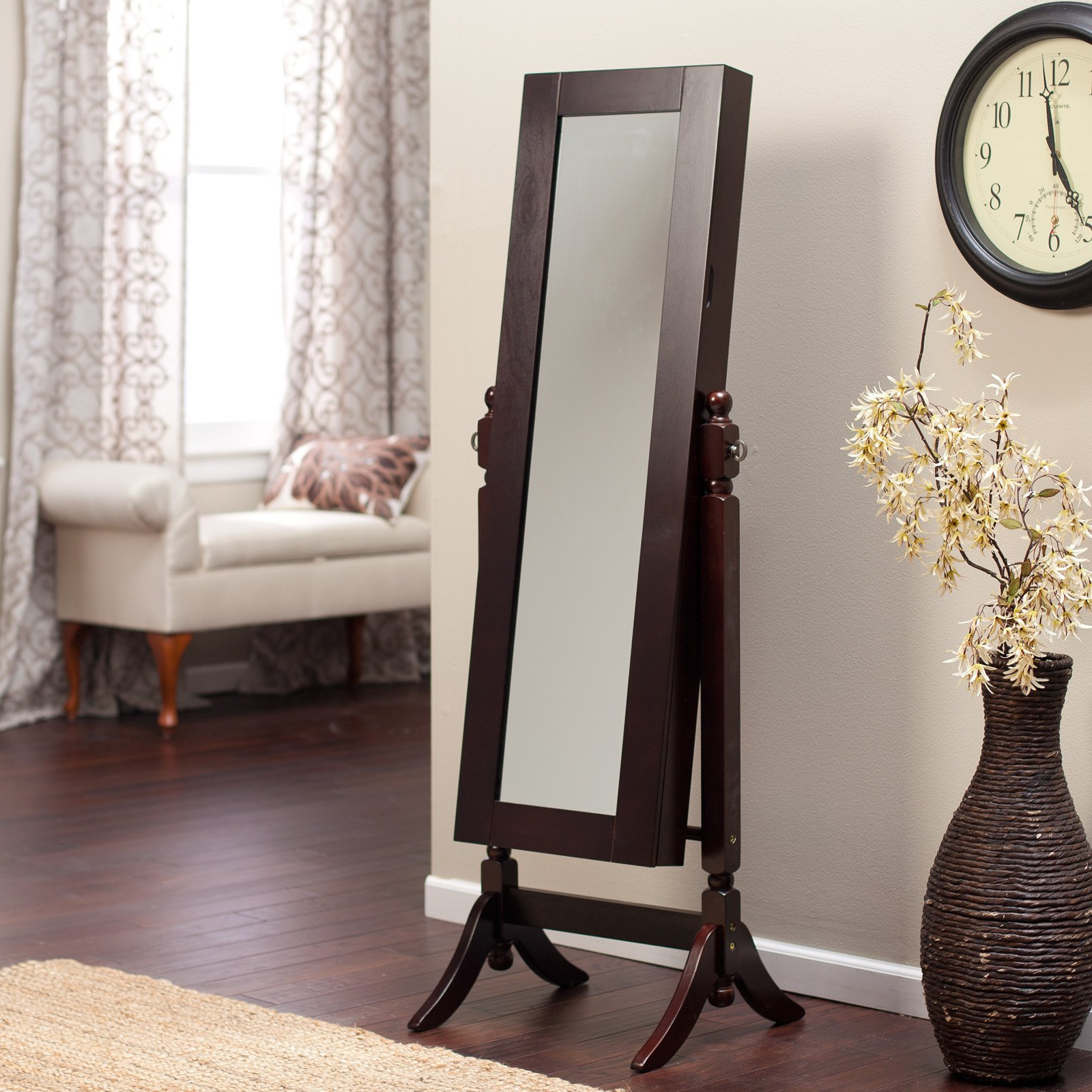 Wall Mounted Locking Mirrored Jewelry Armoire - Driftwood ...