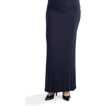 c4ac02c92d 24/7 Comfort Apparel - Women's Womens' Fold-over Maxi Skirt - Walmart.com