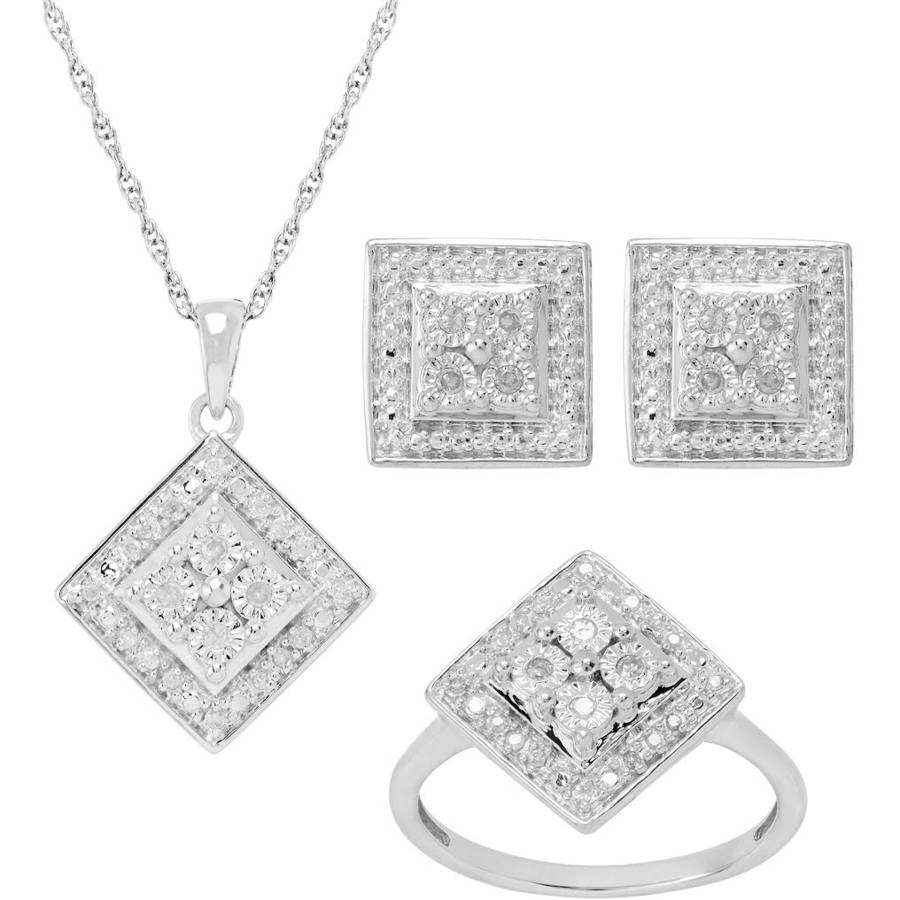 "1/4 Carat T.W. Diamond Sterling Silver Pendant, Earrings, and Ring 3pc Set, 18"" Chain"
