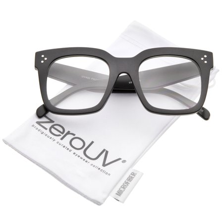 zeroUV - Oversize Wide Temple Flat Lens Horn Rimmed Square Glasses 51mm - (Flat Glasses)
