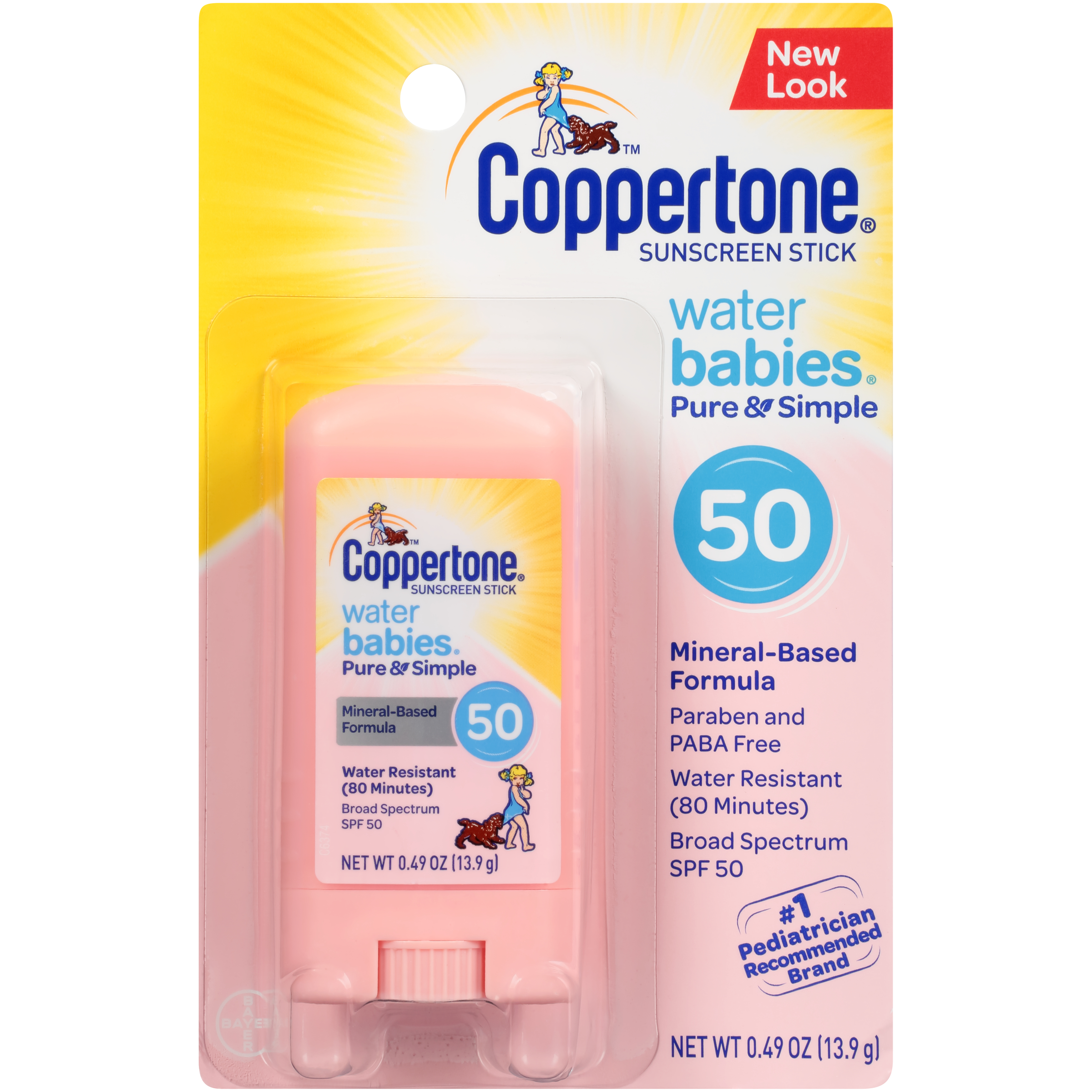 Coppertone WaterBABIES Sunscreen Pure & Simple Stick SPF 50 .5 oz ...