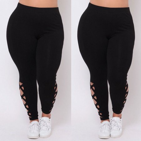 Women Plus Size Elastic Leggings Gym Solid Criss-Cross Hollow Out Sport Pants (Hangin Out Pant)