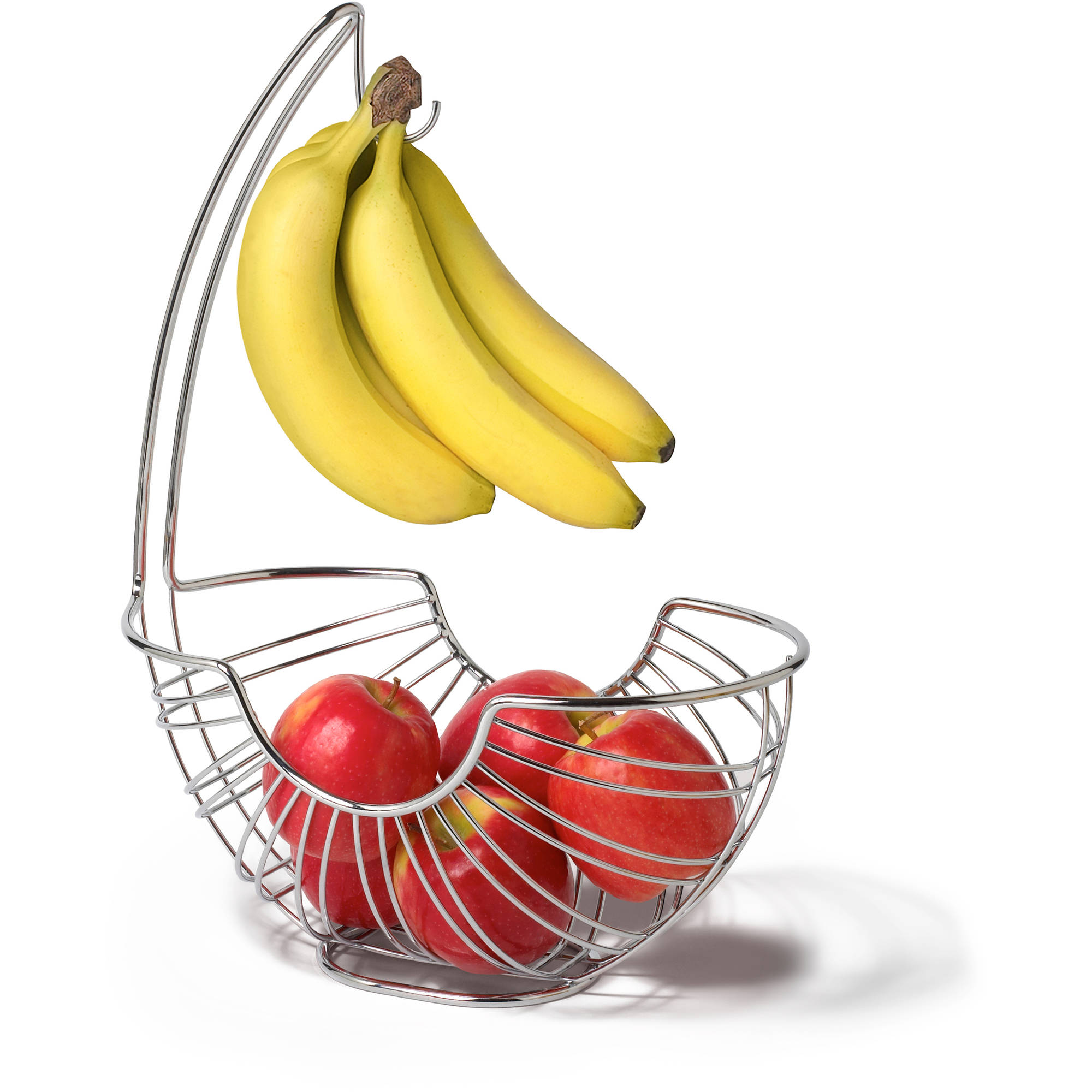 Spectrum Pantry Works Ellipse Fruit Tree Basket and Banana Holder, Chrome