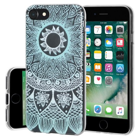 Soft Gel Clear Premium TPU Graphic Skin Case Cover with Ultra 9H HD Tempered Glass Screen Protector for Apple iPhone 7 - Mandala Turquoise