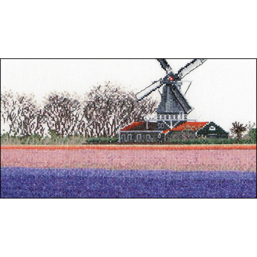 """Bulbfield Hyacinths On Aida Counted Cross Stitch Kit, 9.5"""" x 5.5"""", 18 Count"""