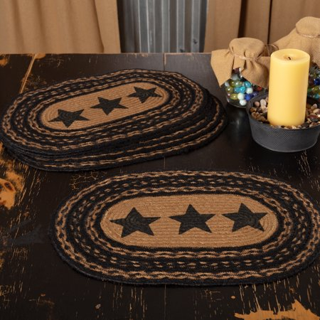 Ashton & Willow Country Black Primitive Tabletop Kitchen Farmhouse Stars Jute Stenciled Star Oval Placemat Set of 6