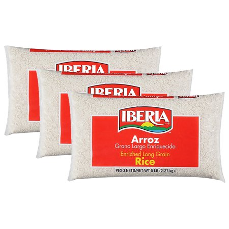(3 Pack) Iberia Enriched Long Grain Rice, 5 Lb