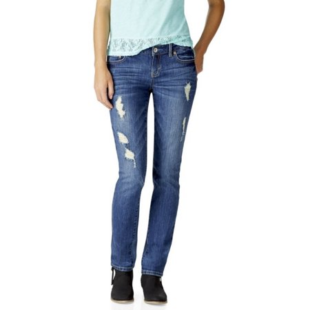 Aeropostale Womens Destructed Skinny Dark Wash Jeans