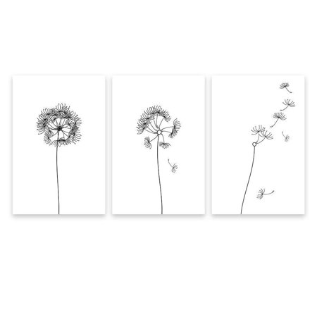 wall26 3 Panel Canvas Hand Drawn Dandelions in Black and White - Wall Decor - 24