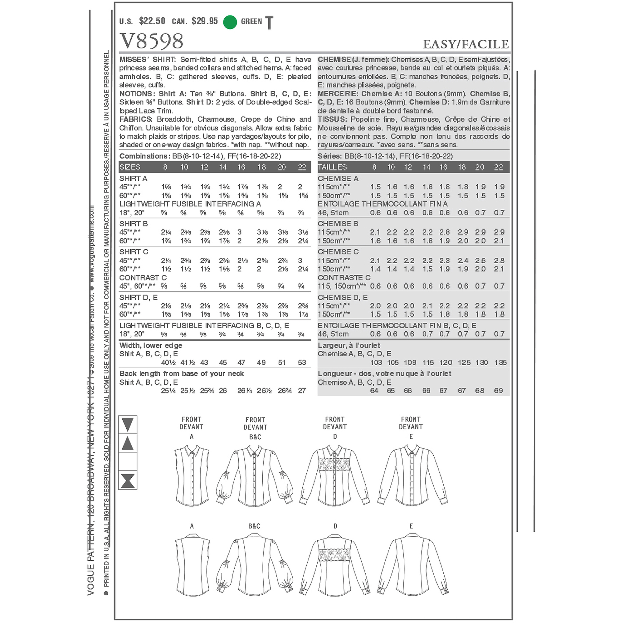 Vogue Pattern Misses' Shirt, BB (8, 10, 12, 14)