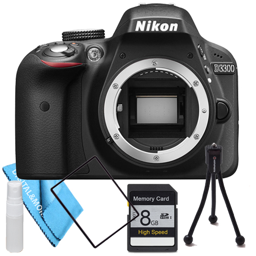 Nikon D3300 Body with 8GB SDHC Class 10 High Speed Memory Card, Table Top Tripod, Lens Cleaning Kit & more