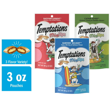TEMPTATIONS MIXUPS Crunchy and Soft Cat Treats Variety Pack in Backyard Cookout, Surfers' Delight and Catnip Fever Flavors, (6) 3 oz. Pouches (Bubble Catnip)