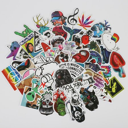 Waterproof Stickers Pack(50 Pcs) for Laptop, Luggage, Car, Motorcycle, Bicycle, No-Duplicate, Random (Name Laptop Stickers)