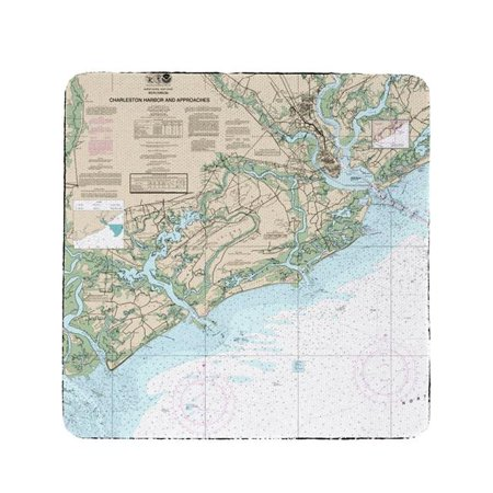 Betsy Drake CT11521 4 x 4 in. Charleston Harbor & Approaches, SC Nautical Map Coaster - Set of 4](Party City Charleston Sc)