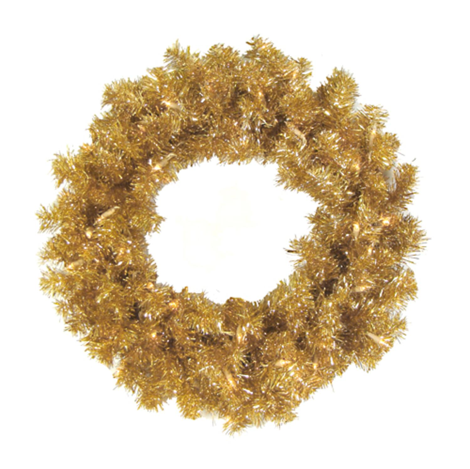 """24"""" Pre-Lit Antique Gold Tinsel Artificial Christmas Wreath - Clear Lights"""