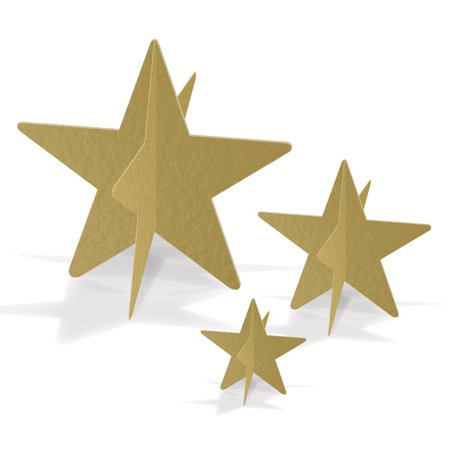 Club Pack of 36 Awards Night 3-D Golden Foil Star Table Centerpieces