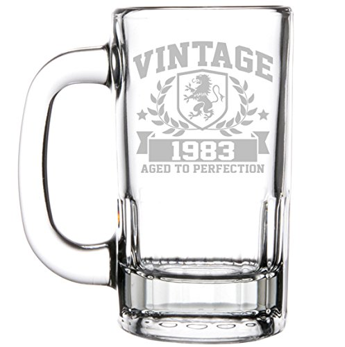 12oz Beer Mug Stein Glass 35th Birthday Vintage Aged To Perfection 1983 by