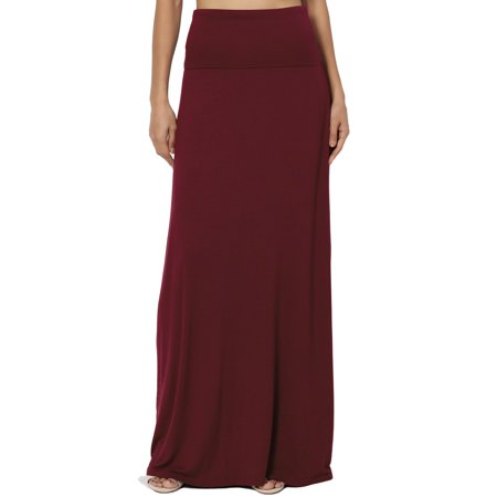 TheMogan Women's S~3X Casual Draped Jersey Foldable Waist Relaxed Long Maxi (Wear Maxi Skirt)