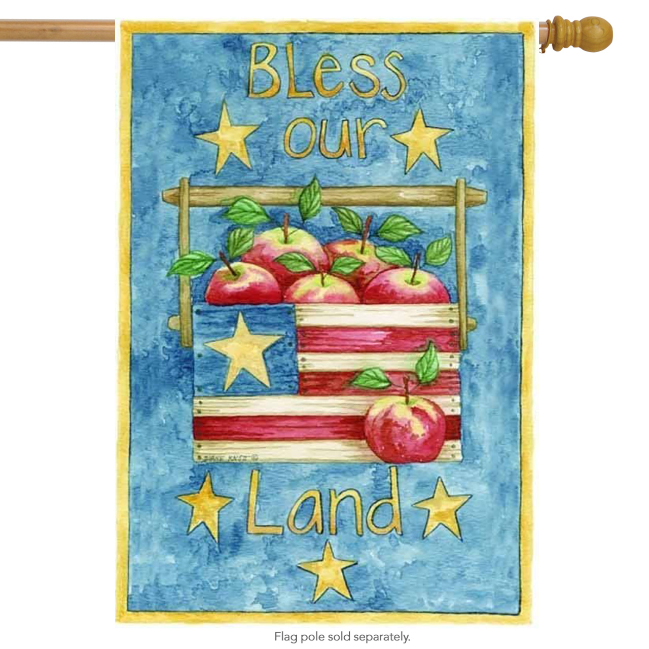 Bless Our Land Patriotic House Flag