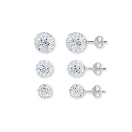 Crystalogy 5-6-7mm Clear Crystal Sterling Silver Pave Ball Stud 3-Piece Earring Set
