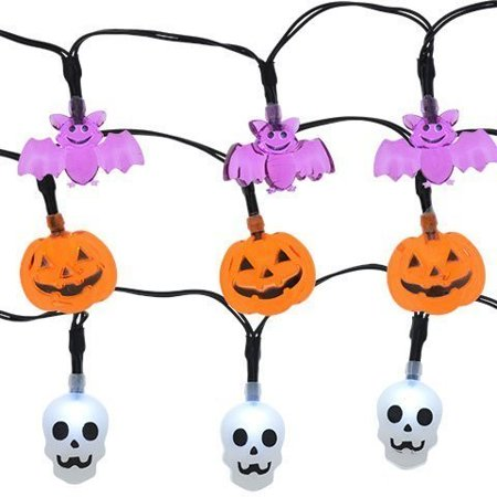 Last Day Of Halloween Haunt (led lights 10 count toddlers kids jack o lantern scary spooky creepy turkey harvest halloween party indoor outdoor decoration decorations decor haunted house skull bat pumpkins bundle)